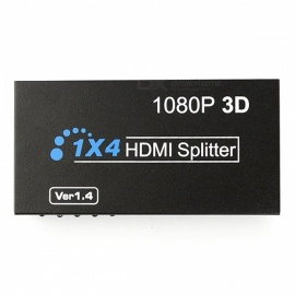 Full-HD-3D-1080p-HDMI-Splitter-1-x-4-Hub-Repeater-Amplifier-Black