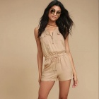 Casual-Leisure-Sleeveless-One-Piece-Shorts-Jumpsuit-Khaki-(M)