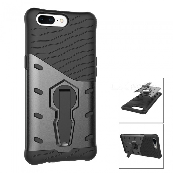 TPU PC Back Case with 360 Degree Rotary Stand for Oneplus 5 - BlackPlastic Cases<br>Form  ColorBlackModelN/AMaterialPC + TPUQuantity1 pieceShade Of ColorBlackCompatible ModelsOneplus 5FeaturesAnti-slip,Dust-proof,Shock-proof,Abrasion resistance,Easy-to-remove,Holder functionPacking List1 x Case<br>