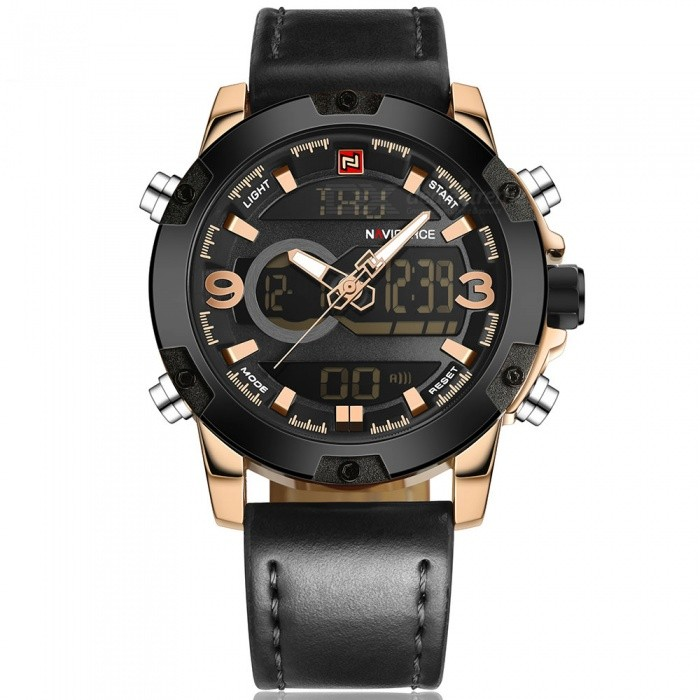 Naviforce 9097 Menns Sport Skinn Håndleddet Kvarts Watch- Golden, Black