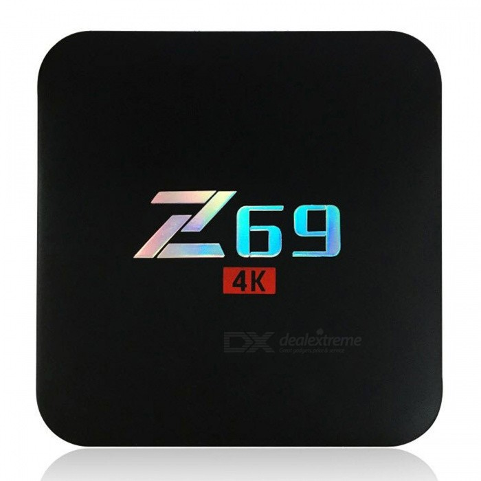 Z69 Android 6.0 Smart TV Box with 3GB RAM, 32GB ROM (EU Plug)Smart TV Players<br>Form  ColorBlackBuilt-in Memory / RAM3GBStorage32GBPower AdapterEU PlugModelZ69Quantity1 pieceMaterialABSShade Of ColorBlackOperating SystemAndroid 6.0ChipsetAmlogic S905XCPUOthers,Cortex-A53Processor FrequencyMax 2GhzGPUMali-450Menu LanguageEnglish,French,German,Italian,Spanish,Portuguese,Russian,Japanese,Korean,Chinese Simplified,Chinese TraditionalRAM/Memory TypeDDR3 SDRAMMax Extended Capacity64GBSupports Card TypeMicroSD (TF)Wi-Fi802.11b/g/nBluetooth VersionBluetooth V4.03G FunctionNoWireless Keyboard/Mouse2.4GhzAudio FormatsMP3,WMA,APE,FLAC,OGG,AC3,DTS,AACVideo FormatsRM,RMVB,AVI,DIVX,MKV,MOV,HDMOV,MP4,M4V,PMP,AVC,FLV,VOB,MPG,DAT,MPEG,H.264,MPEG1,MPEG2,MPEG4,WMV,TP,CD,VCD,DVD,BD,H.265Audio CodecsDTS,AC3,LPCM,FLAC,HE-AACVideo CodecsMPEG-1,MPEG-2,MPEG-4,H.264,VC-1,H.265Picture FormatsJPEG,BMP,PNG,GIF,TIFF,jps(3D),mpo(3D)Subtitle FormatsMicroDVD [.sub],SubRip [.srt],Sub Station Alpha [.ssa],Sami [.smi]idx+subPGSOutput Resolution4KHDMI2.0Audio OutputHDMI,AVVideo OutputHDMI,AVUSBUSB 2.0Power Supply100-240VAPP Built-inKodi,YoutubeCompatible ApplicationFacebook,Youtube,Skype,Netflix,XBMC,HuluPacking List1 x Z69 TV Box1 x HDMI Cable (98+/-2cm)1 x Remote Control1 x Power Adapter (EU Plug)1 x English User Manual<br>