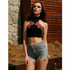 Sexy-Navel-Straps-Embroidered-High-Collar-Vest-Shirt-Black-(M)