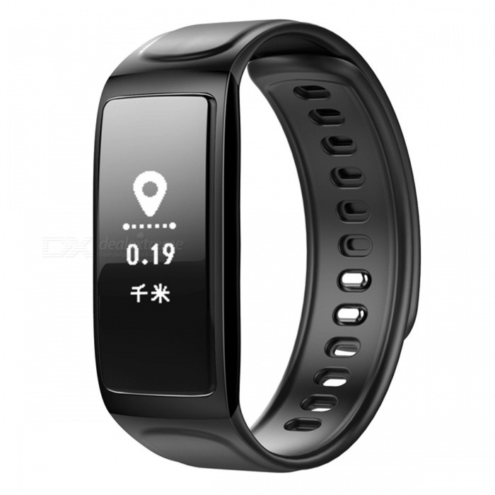 C7S Bluetooth Smart Bracelet with Heart Rate Monitor - Black