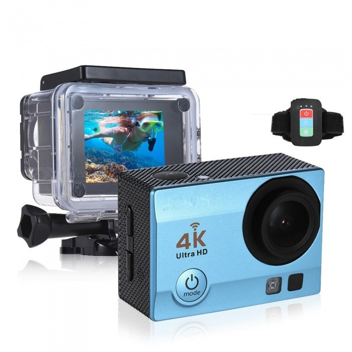 2 inch HD LCD Screen 4K 30fps 16MP Wi-Fi Sports Action Camera - BlueSport Cameras<br>Form  ColorBlue + BlackShade Of ColorBlueMaterialABSQuantity1 setImage SensorOthers,ov4689Anti-ShakeYesFocal DistancePhotographed function: Panoramic (5M/8M/12M/16M) mFocusing RangePhotographed function: Panoramic (5M/8M/12M/16M)Built-in SpeedliteYesEffective Pixels4K 30fps, 2.7K 30fps, 1920 * 1080P 60/30fps, 1280 * 720p 90/60/30fpsImagesJPGStill Image Resolution12M(4032 x 3024), 10M(3648 x 2736), 8M(3264 x 2448)/ 6M(2000 x 3000), 5M(2592 x 1994), 3M(2048 x 1536), 2MHD(1920 x 1080), VGA(640 x 480)VideoMOVVideo Resolution4K 30fps, 2.7K 30fps, 1920 x 1080P 60/30fps, 1280 x 720p 90/60/30fpsVideo Frame Rate30,60Cycle RecordYesISONoExposure CompensationOthers,-3/-2/-1/0/+1/+2/+3)Supports Card TypeSDSupports Max. Capacity64 GBBuilt-in Memory / RAMNoLCD ScreenYesBattery Measured Capacity 900 mAhNominal Capacity900 mAhBattery included or notYesPacking List1 x Action Camera with Battery1 x Remote Control1 x Waterproof Case1 x Waterproof Case Back Door1 x USB Cable1 x J-shape Mount1 x Bicycle Mount2 x Helmet Mounts1 x Bracket1 x Clip1 x Fix Base3 x Switch Supports2 x Adhesive Tapes1 x Wire4 x Ties4 x Bandages1 x Cleaning Cloth1 x User Manual(English)<br>
