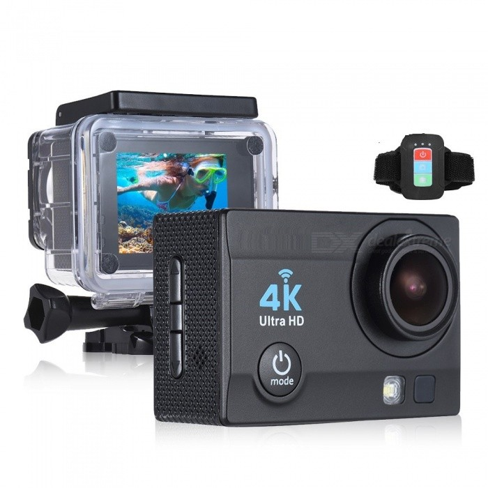 2 inch HD LCD Screen 4K 30fps 16MP Wi-Fi Sports Action Camera - BlackSport Cameras<br>Form  ColorBlackShade Of ColorBlackMaterialABSQuantity1 setImage SensorOthers,ov4689Anti-ShakeYesFocal DistancePhotographed function: Panoramic (5M/8M/12M/16M) mFocusing RangePhotographed function: Panoramic (5M/8M/12M/16M)Built-in SpeedliteYesEffective Pixels4K 30fps, 2.7K 30fps, 1920 * 1080P 60/30fps, 1280 * 720p 90/60/30fpsImagesJPGStill Image Resolution12M(4032 x 3024), 10M(3648 x 2736), 8M(3264 x 2448)/ 6M(2000 x 3000), 5M(2592 x 1994), 3M(2048 x 1536), 2MHD(1920 x 1080), VGA(640 x 480)VideoMOVVideo Resolution4K 30fps, 2.7K 30fps, 1920 x 1080P 60/30fps, 1280 x 720p 90/60/30fpsVideo Frame Rate30,60Cycle RecordYesISONoExposure CompensationOthers,-3/-2/-1/0/+1/+2/+3)Supports Card TypeSDSupports Max. Capacity64 GBBuilt-in Memory / RAMNoLCD ScreenYesBattery Measured Capacity 900 mAhNominal Capacity900 mAhBattery included or notYesPacking List1 x Action Camera with Battery1 x Remote Control1 x Waterproof Case1 x Waterproof Case Back Door1 x USB Cable1 x J-shape Mount1 x Bicycle Mount2 x Helmet Mounts1 x Bracket1 x Clip1 x Fix Base3 x Switch Supports2 x Adhesive Tapes1 x Wire4 x Ties4 x Bandages1 x Cleaning Cloth1 x User Manual(English)<br>