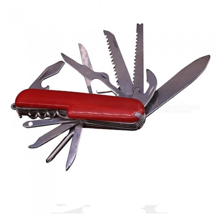 Multifunctional Stainless Steel Swiss Army Folding Knife - RedMulti Tool<br>Form  ColorRedMaterialStainless steelQuantity1 pieceShade Of ColorRedTools IncludeKnife, cross screwdriver, mini screwdriver, drill cone, pull wood drill, opener, scissors, wood, small wood, can opener, knifeOther FeaturesKnife, cross screwdriver, mini screwdriver, drill cone, corkscrew, opener, scissors, wood, small wood, can opener, knifePacking List1 x Portable portable knife<br>