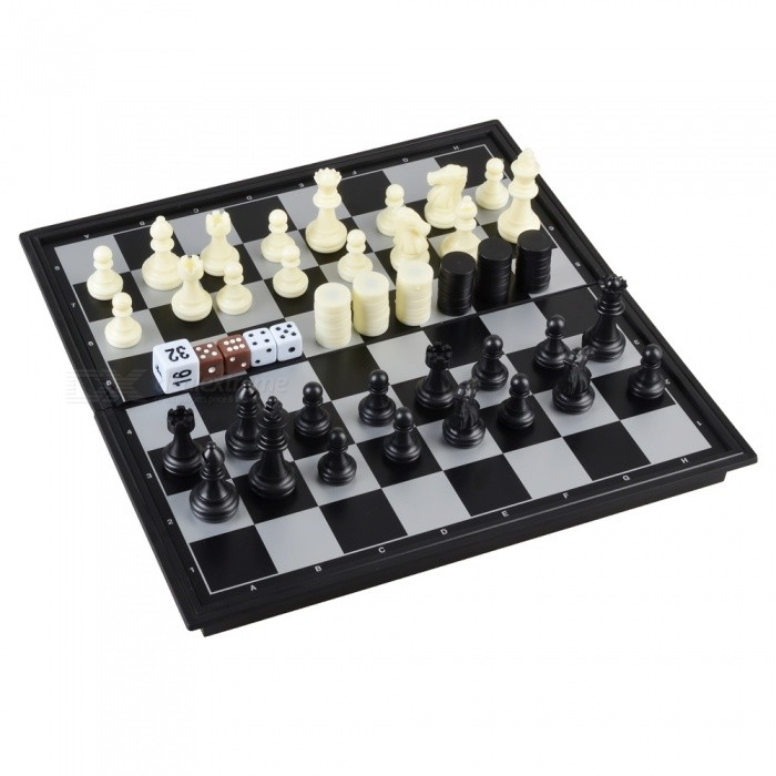 3 in 1 Portable Magnetic Chess, Backgammon Game Set - Black, White