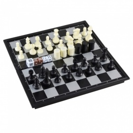 3-in-1-Portable-Magnetic-Chess-Backgammon-Game-Set-Black-White