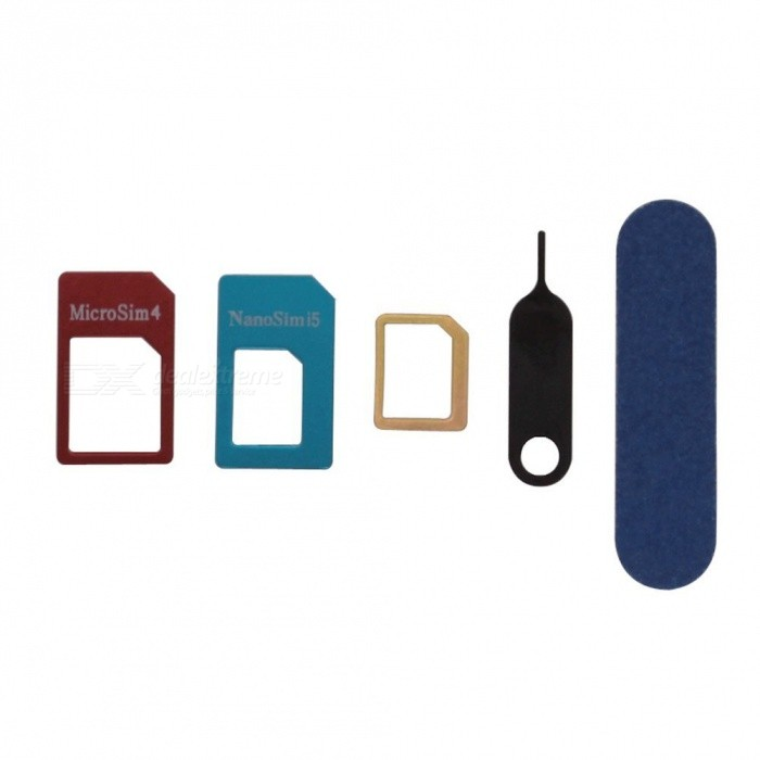 Buy 5 IN 1 Nano-SIM Adapter Micro Mini Standard Card Adapter Set with Litecoins with Free Shipping on Gipsybee.com