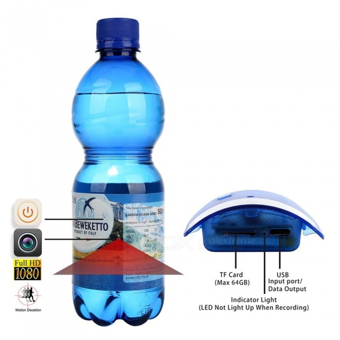 Water Bottle Shape Full HD Hidden Camera with Motion Detection (Us Plugs)