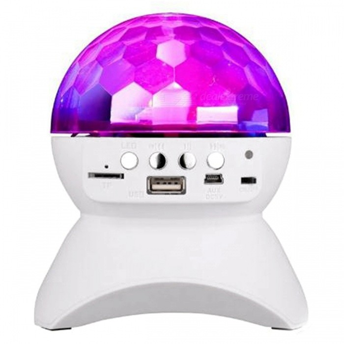 3W LED Disco Stage Light, Wireless Bluetooth Speaker - WhiteStage Lights<br>Form  ColorWhiteMaterialABSQuantity1 DX.PCM.Model.AttributeModel.UnitShade Of ColorWhitePattern TypeColored lightTotal Power3 DX.PCM.Model.AttributeModel.UnitPowered ByUSBPacking List1 x Crystal Magic Ball DJ Light 1 x Cable length: 40cm1 x Instruction<br>