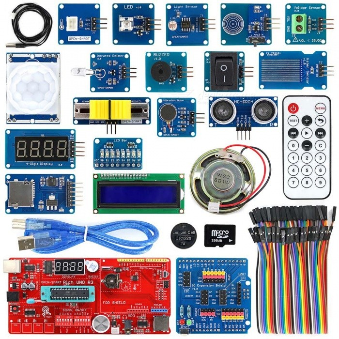 OPEN-SMART Rich UNO R3 Atmega328P Development Sensor Module KitKits<br>Form  ColorRed + MulticoloredModelN/AQuantity1 setMaterialPCB + Alloy + PlasticEnglish Manual / SpecYesDownload Link   https://drive.google.com/drive/folders/0B6uNNXJ2z4CxWjcybmpFOUprRWc?usp=sharingPacking List1 x Board1 x IO Shield1 x USB cable (50cm) 1 x 40pin female to female cable1 x Voltage sensor1 x Ultrasonic sensor1 x Touch sensor1 x Water sensor1 x PIR motion sensor1 x Rocker switch1 x NTC sensor1 x Light sensor1 x Slide Potentiometer1 x Vibration motor1 x Passive buzzer1 x Speaker1 x 8 LED bar1 x Eagle eyes LED1 x I2C 1602 LCD1 x 4-Digit display1 x TF card (256MB)1 x CR1220 button battery (40mAh)1 x Infrared Remote Control (with one CR2032 battery)1 x Micro SD card adapter1 x Infrared emitter<br>