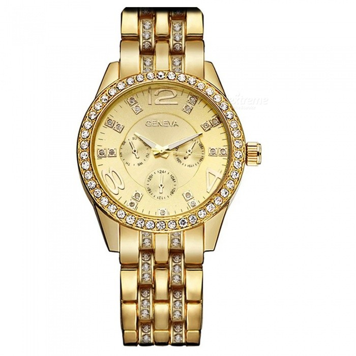 New Fashion Genève Diamond Quartz Watch med 3 Sub-ringa-gyllene