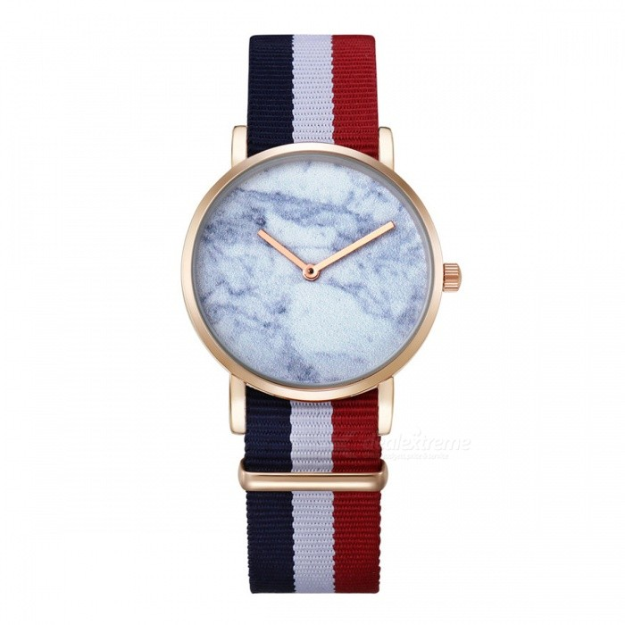 CAGARNY 6812 Womens Marble Pattern Quartz Watch - Red, Blue, WhiteWomens Dress Watches<br>Form  ColorGolden + MulticoloredModel6812Quantity1 DX.PCM.Model.AttributeModel.UnitShade Of ColorGoldCasing MaterialAlloy + IP platedWristband MaterialNylonGenderWomenSuitable forAdultsStyleWrist WatchTypeFashion watchesDisplayAnalogBacklightNoMovementQuartzDisplay Format12 hour formatWater ResistantFor daily wear. Suitable for everyday use. Wearable while water is being splashed but not under any pressure.Dial Diameter3.6 DX.PCM.Model.AttributeModel.UnitDial Thickness0.8 DX.PCM.Model.AttributeModel.UnitBand Width1.8 DX.PCM.Model.AttributeModel.UnitWristband Length25.5 DX.PCM.Model.AttributeModel.UnitBattery1 x sr626swPacking List1 x Watch<br>