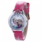 Frosset Girls Pattern Vattentät Quartz Watch for Children-röd