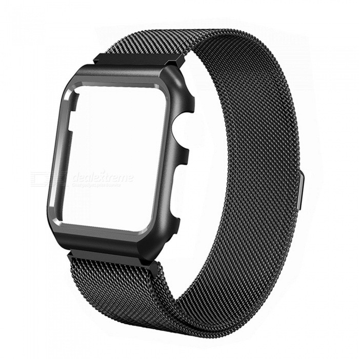 Miimall Mesh Magnetic Band with Case for 38mm Apple Watch - BlackWearable Device Accessories<br>Form  ColorBlackModelApple Watch BandQuantity1 DX.PCM.Model.AttributeModel.UnitMaterialStainless SteelPacking List1 x Miimall Mesh Stainless Steel Wristband with Metal Protective Case for Apple Watch 38mm<br>