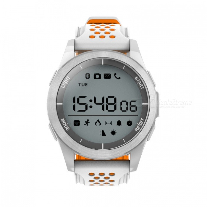 NO.1 F3 IP68 Waterproof Sport Smart Watch Bracelet - White, OrangeSmart Bracelets<br>Form  ColorWhite+ OrangeModelF3Quantity1 DX.PCM.Model.AttributeModel.UnitMaterialCeramic + siliconeShade Of ColorWhiteWater-proofIP68Bluetooth VersionBluetooth V4.0Touch Screen TypeOthers,1.1 inches  Round displayOperating SystemNoCompatible OSAndroid, IOSBattery Capacity240 DX.PCM.Model.AttributeModel.UnitBattery TypeOthers,CR2032 button lithium batteryStandby Time1 DX.PCM.Model.AttributeModel.UnitCertificationCEPacking List1 x F3 Smart Bracelet1 x User Manual (Chinese/English)<br>