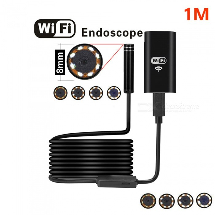 BLCR 8mm 2.0MP 8-LED Wireless Wi-Fi Endoscope with Softwire (1m)Microscopes &amp; Endoscope<br>Snake Cable Length1m SoftwireModelN/AQuantity1 DX.PCM.Model.AttributeModel.UnitForm  ColorBlackMaterialPlasticCamera Pixels2.0MPCompatible OSIOS/Android /Windows/MacCamera head outer diameter8mmLED Bulb Qty8InterfaceMicro USBPacking List1 x Wireless Endoscope1 x Wifi box &amp; power bank (2in1 kits)1 x Sucker1 x Hook1 x Magnet1 x Side Mirror1 x English user manual<br>