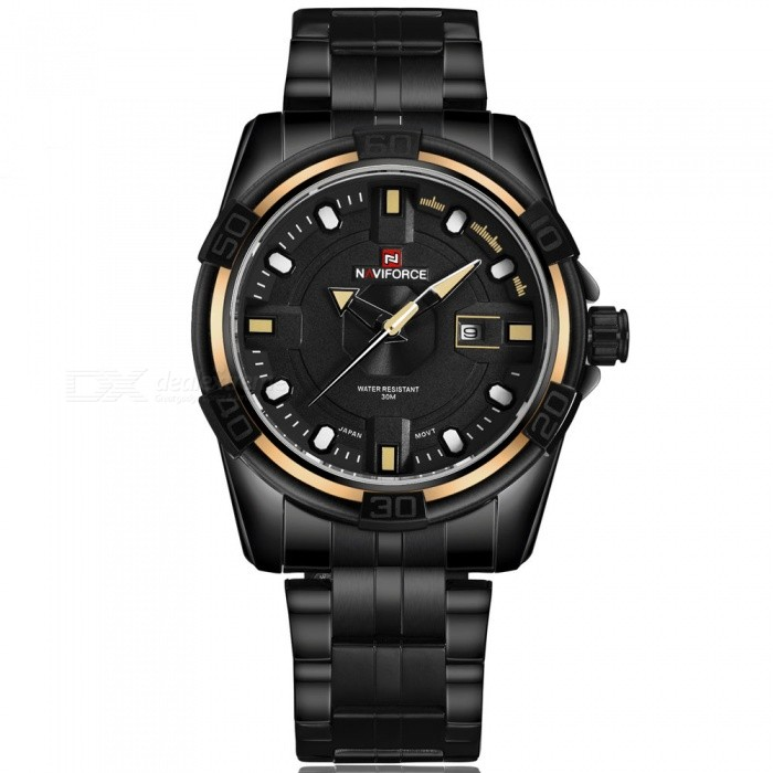 NaviForce 9079 Mens Sports Army Metal Wrist Quartz Watch - YellowSport Watches<br>Form  ColorBlack, yellow (Without Gift Box)ModelNF9079Quantity1 DX.PCM.Model.AttributeModel.UnitShade Of ColorBlackCasing MaterialStainless SteelWristband MaterialStainless SteelSuitable forAdultsGenderMenStyleWrist WatchTypeSports watchesDisplayAnalogMovementQuartzDisplay Format12 hour formatWater ResistantWater Resistant 3 ATM or 30 m. Suitable for everyday use. Splash/rain resistant. Not suitable for showering, bathing, swimming, snorkelling, water related work and fishing.Dial Diameter4.5 DX.PCM.Model.AttributeModel.UnitDial Thickness1.3 DX.PCM.Model.AttributeModel.UnitWristband Length24.5 DX.PCM.Model.AttributeModel.UnitBand Width2.4 DX.PCM.Model.AttributeModel.UnitBattery1 x Button batteryPacking List1 x Watch<br>