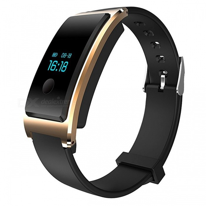 DM8 IP68 Waterproof Smart Bracelet with Heart Rate Monitor - GoldenSmart Bracelets<br>Form  ColorGolden + BlackQuantity1 DX.PCM.Model.AttributeModel.UnitMaterialABSShade Of ColorGoldWater-proofIP68Bluetooth VersionBluetooth V4.0Touch Screen TypeYesCompatible OSAndroid 4.4 and above and iOS 7.1 and aboveBattery Capacity100 DX.PCM.Model.AttributeModel.UnitBattery TypeLi-polymer batteryStandby Time7 DX.PCM.Model.AttributeModel.UnitPacking List1 x Smart Heart Rate Bracelet<br>
