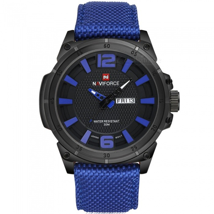 NaviForce 9066 Mens Sports Military Wrist Quartz Watch - BlueSport Watches<br>Form  ColorBlue (Without Gift Box)ModelNF9066Quantity1 DX.PCM.Model.AttributeModel.UnitShade Of ColorBlueCasing MaterialStainless SteelWristband MaterialNylonSuitable forAdultsGenderMenStyleWrist WatchTypeSports watchesDisplayAnalogMovementQuartzDisplay Format12 hour formatWater ResistantWater Resistant 3 ATM or 30 m. Suitable for everyday use. Splash/rain resistant. Not suitable for showering, bathing, swimming, snorkelling, water related work and fishing.Dial Diameter4.7 DX.PCM.Model.AttributeModel.UnitDial Thickness1.3 DX.PCM.Model.AttributeModel.UnitWristband Length24 DX.PCM.Model.AttributeModel.UnitBand Width2.4 DX.PCM.Model.AttributeModel.UnitBattery1 x Button batteryPacking List1 x Watch<br>