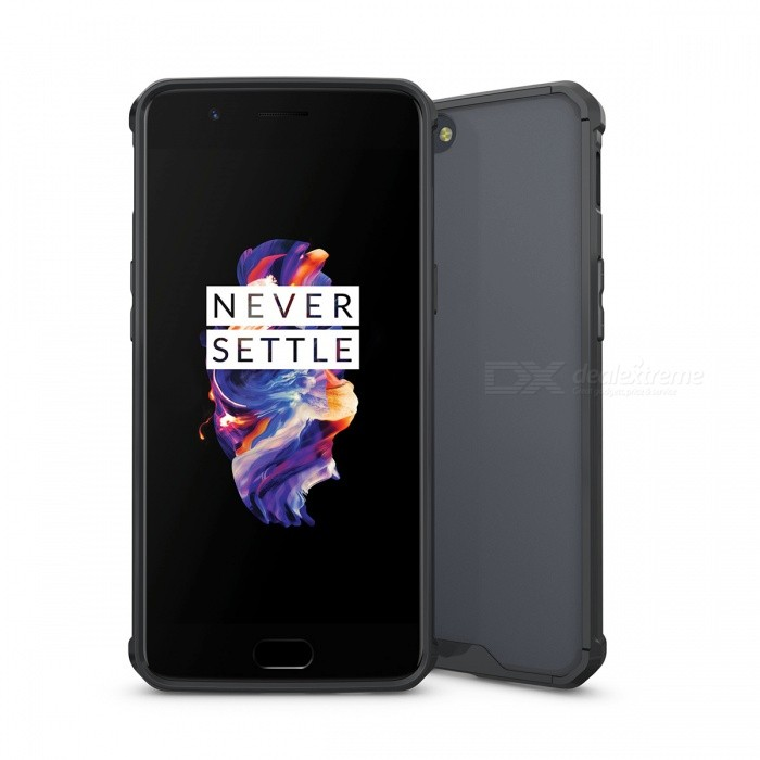 Shock-proof Protection Back Case for Oneplus 5 - BlackPlastic Cases<br>Form  ColorBlackModelN/AMaterialTPU + acrylicQuantity1 DX.PCM.Model.AttributeModel.UnitShade Of ColorBlackCompatible ModelsOneplus 5FeaturesShock-proofPacking List1 x Case<br>