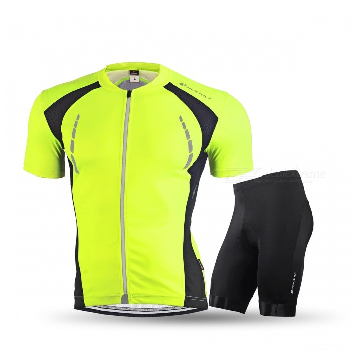 NUCKILY Summer Cycling Short-sleeved Jersey with Shorts - Fluorescent Green / White / Red / Sapphire Blue
