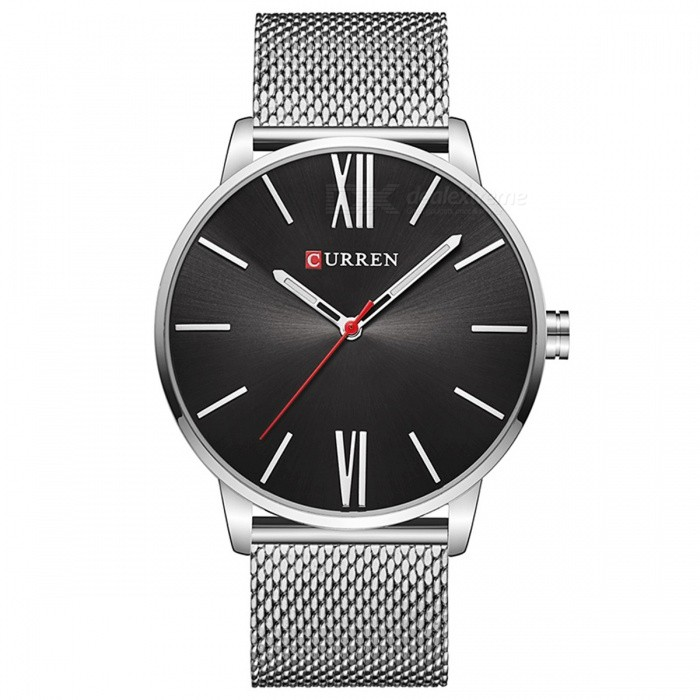 Buy CURREN 8238 Ultra Thin Men's Quartz Watch with Mesh Strap - Silver with Litecoins with Free Shipping on Gipsybee.com