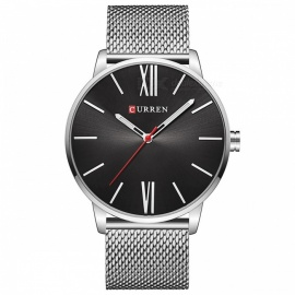 CURREN-8238-Ultra-Thin-Mens-Quartz-Watch-with-Mesh-Strap-Silver