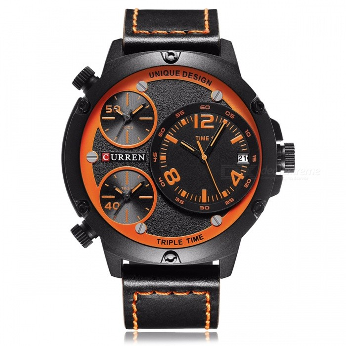 CURREN 8262 Leather Strap Men's Quartz Watch with 3 Sub-Dial - Black for sale for the best price on Gipsybee.com.