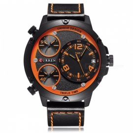 CURREN-8262-Leather-Strap-Mens-Quartz-Watch-with-3-Sub-Dial-Black