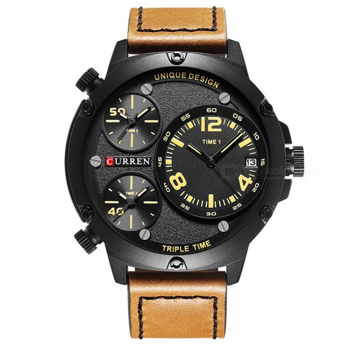CURREN-8262-Leather-Strap-Mens-Quartz-Watch-with-3-Sub-Dial-Yellow