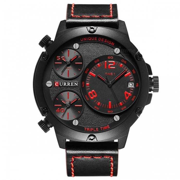 CURREN-8262-Leather-Strap-Mens-Quartz-Watch-with-3-Sub-Dial-Red
