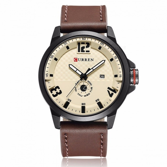 CURREN-8253-Mens-Causal-Quartz-Watch-with-Leather-Strap-Brown