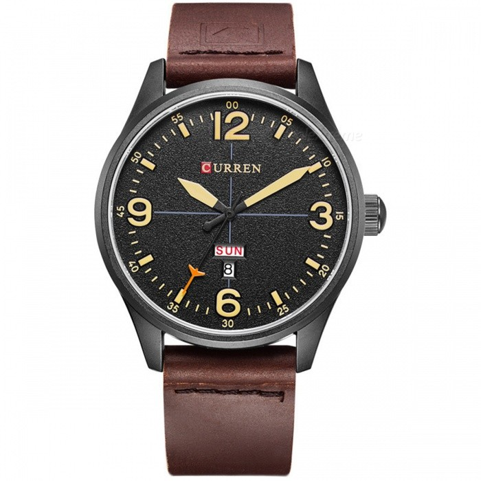 CURREN 8265 Mens Causal Quartz Watch with Leather Strap - Dark BrownQuartz Watches<br>Form  ColorBlack + Dark BrownModel8265Quantity1 DX.PCM.Model.AttributeModel.UnitShade Of ColorBlackCasing MaterialAlloyWristband MaterialPU LeatherSuitable forAdultsGenderMenStyleWrist WatchTypeCasual watchesDisplayAnalogBacklightNoMovementQuartzDisplay Format12 hour formatWater ResistantFor daily wear. Suitable for everyday use. Wearable while water is being splashed but not under any pressure.Dial Diameter4.5 DX.PCM.Model.AttributeModel.UnitDial Thickness1 DX.PCM.Model.AttributeModel.UnitWristband Length25 DX.PCM.Model.AttributeModel.UnitBand Width2 DX.PCM.Model.AttributeModel.UnitBattery626Packing List1 x Watch1 x Gift Box<br>