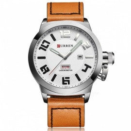 CURREN-8270-Mens-Causal-Quartz-Watch-with-Leather-Strap-Silver