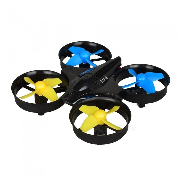 S105 4CH 4-Axis Mini Drone RC Quadcopter - BlackR/C Airplanes&amp;Quadcopters<br>Form  ColorBlackModelS105MaterialABSQuantity1 DX.PCM.Model.AttributeModel.UnitShade Of ColorBlackGyroscopeYesChannels Quanlity4 DX.PCM.Model.AttributeModel.UnitFunctionUp,Down,Left,Right,Forward,Backward,Stop,Hovering,Sideward flightRemote control frequency2.4GHzRemote TypeRadio ControlRemote Control Range50 DX.PCM.Model.AttributeModel.UnitIndoor/OutdoorIndoorSuitable Age 12-15 years,Grown upsCameraNoCamera PixelNoLamp YesBattery Capacity220 DX.PCM.Model.AttributeModel.UnitBattery TypeLi-polymer batteryCharging Time50 DX.PCM.Model.AttributeModel.UnitWorking Time6 DX.PCM.Model.AttributeModel.UnitModelMode 2 (Left Throttle Hand)Remote Control TypeWirelessRemote Controller Battery TypeAAARemote Controller Battery Number3 (not included)Packing List1 x RC Quadcopter1 x Remote controller1 x Charging cable (60cm)2 x Spare Main Blades1 x Chinese / English user manual<br>