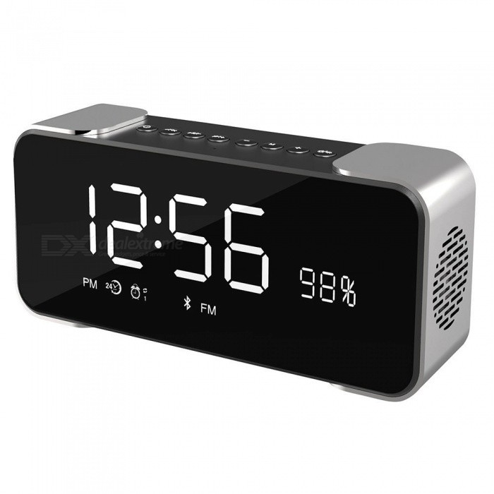 Hi-Fi Portable Wireless Stereo Speaker with Alarm Clock - GreyBluetooth Speakers<br>Form  ColorGrey + Black + Multi-ColoredModelSA17050018MaterialMetal + PlasticQuantity1 DX.PCM.Model.AttributeModel.UnitShade Of ColorGrayBluetooth HandsfreeYesBluetooth ChipCSRBluetooth VersionOthers,Bluetooth V4.1Operating Range10MTotal Power10 DX.PCM.Model.AttributeModel.UnitChannels2.0Interface3.5mm,AuxMicrophoneYesSNR70dBFrequency Response80HZ-18KHZApplicable ProductsOthers,Device with bluetoothRadio TunerYesSupports Card TypeSD,MicroSD (TF)Built-in Battery Capacity 2500 DX.PCM.Model.AttributeModel.UnitBattery TypeLi-ion batteryTalk Time6-8 DX.PCM.Model.AttributeModel.UnitStandby Time160 DX.PCM.Model.AttributeModel.UnitMusic Play Time10 DX.PCM.Model.AttributeModel.UnitPower AdapterUSBPower Supply5VPacking List1 x Wireless Bluetooth Speaker 1 x USB charging cable1 x 3.5mm audio cable1 x User Manual<br>