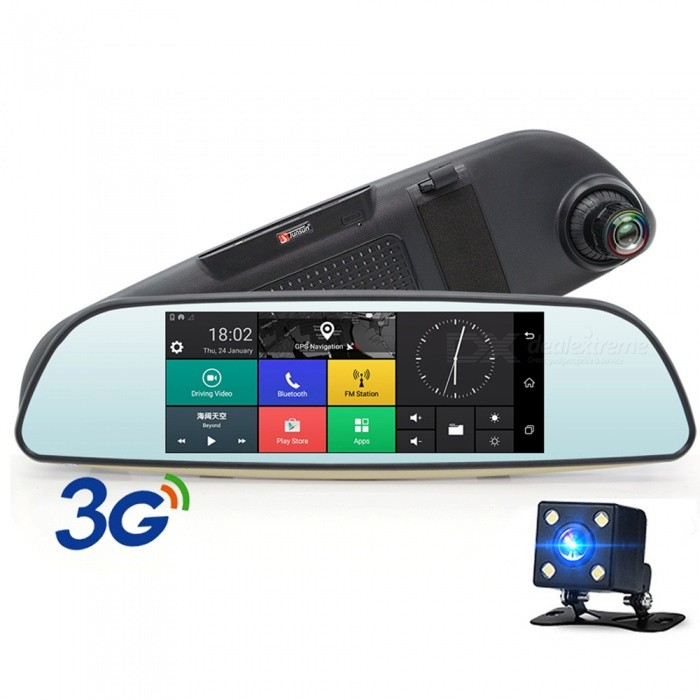 Junsun 6.5quot Dash Cam Full HD 3G Rearview Mirror Car DVR 1080P Video Recorder Camera Android 5.0 Car GPS Navigator Rearview Mirro