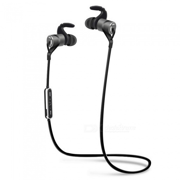 D9 Anti-sweat Sports Wireless 4.1 Bluetooth Earphone with Mic - GreyHeadphones<br>Form  ColorGrey + BlackBrandOthers,N/AModelD9MaterialAluminum alloy+TPEQuantity1 DX.PCM.Model.AttributeModel.UnitConnectionBluetoothBluetooth VersionBluetooth V4.1Operating Range10MConnects Two Phones SimultaneouslyYesCable Length60 DX.PCM.Model.AttributeModel.UnitLeft &amp; Right Cables TypeUnequal LengthHeadphone StyleUnilateral,Earbud,In-Ear,Ear-hookWaterproof LevelIPX4Applicable ProductsUniversal,IPHONE 7,IPHONE 7 PLUSHeadphone FeaturesHiFi,English Voice Prompts,Long Time Standby,Magnetic Adsorption,Noise-Canceling,Volume Control,With Microphone,Portable,For Sports &amp; ExerciseRadio TunerNoSupport Memory CardNoSupport Apt-XYesChannels2.0Sensitivity110dBTHDFrequency Response20-20000HzImpedance16 DX.PCM.Model.AttributeModel.UnitDriver Unit10MM *2Battery TypeLi-polymer batteryBuilt-in Battery Capacity 70 DX.PCM.Model.AttributeModel.UnitStandby Time2 DX.PCM.Model.AttributeModel.UnitTalk Time4 DX.PCM.Model.AttributeModel.UnitMusic Play Time6 DX.PCM.Model.AttributeModel.UnitPower AdapterUSBPower Supply5V 1APacking List1 x D9 Bluetooth Earphone1 x USB cable1 x User manul1 x Retail box<br>