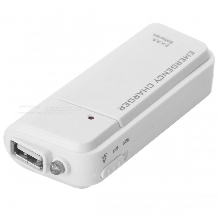Portable USB Emergency Battery Charger - WhiteAC Chargers<br>Form  ColorWhiteModelN/AMaterialPlasticQuantity1 DX.PCM.Model.AttributeModel.UnitPower AdapterOthers,USBPacking List1 x Emergency charger<br>