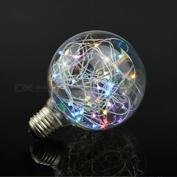 YWXLight E27 2W G95 RGB Color-Changing String LED Filament LampE27<br>Color BINRGBMaterialGlassForm  ColorWhite + Orange + Multi-ColoredQuantity1 DX.PCM.Model.AttributeModel.UnitPower2WRated VoltageAC 85-265 DX.PCM.Model.AttributeModel.UnitConnector TypeE27Emitter TypeOthers,0603Total Emitters20Theoretical Lumens200-250 DX.PCM.Model.AttributeModel.UnitActual Lumens150-200 DX.PCM.Model.AttributeModel.UnitColor Temperature12000K,Others,RGBDimmableNoBeam Angle360 DX.PCM.Model.AttributeModel.UnitPacking List1 x YWXLight Glass Lamp<br>