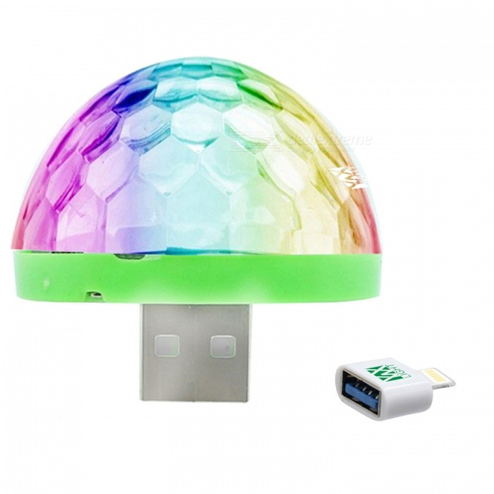 YWXLight Mini Crystal Ball USB Stage Light for IPHONE - White (DC 5V)Stage Lights<br>Form  ColorIPHONE Interface (White)MaterialPCQuantity1 DX.PCM.Model.AttributeModel.UnitShade Of ColorMulti-colorPattern TypeOtherTotal Power5 DX.PCM.Model.AttributeModel.UnitPower AdapterOthers,USBPacking List1 x Mini Stage Light1 x IPhone Interface Adapter<br>