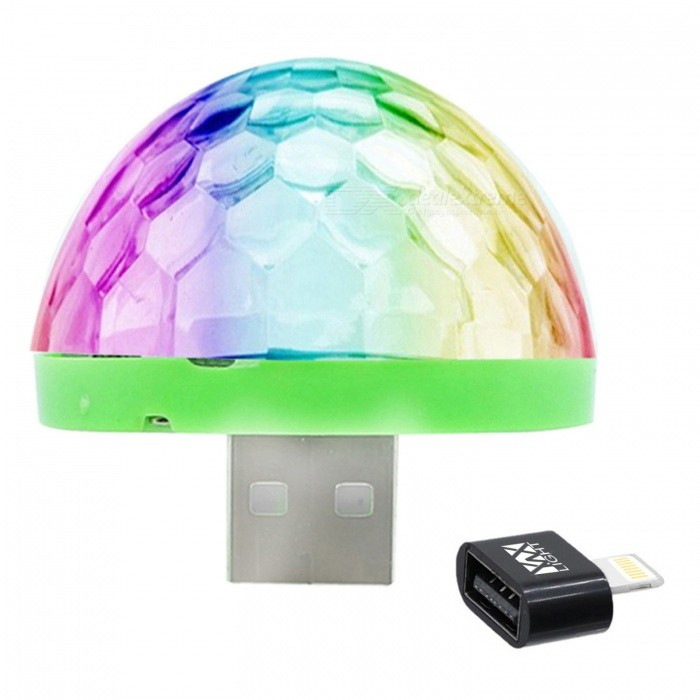 YWXLight Mini Crystal Ball USB Stage Light for IPHONE - Black (DC 5V)Stage Lights<br>Form  ColorIPHONE Interface (Black)MaterialPCQuantity1 DX.PCM.Model.AttributeModel.UnitShade Of ColorMulti-colorPattern TypeOtherTotal Power5 DX.PCM.Model.AttributeModel.UnitPower AdapterOthers,USBPacking List1 x Mini Stage Light1 x IPhone Interface Adapter<br>