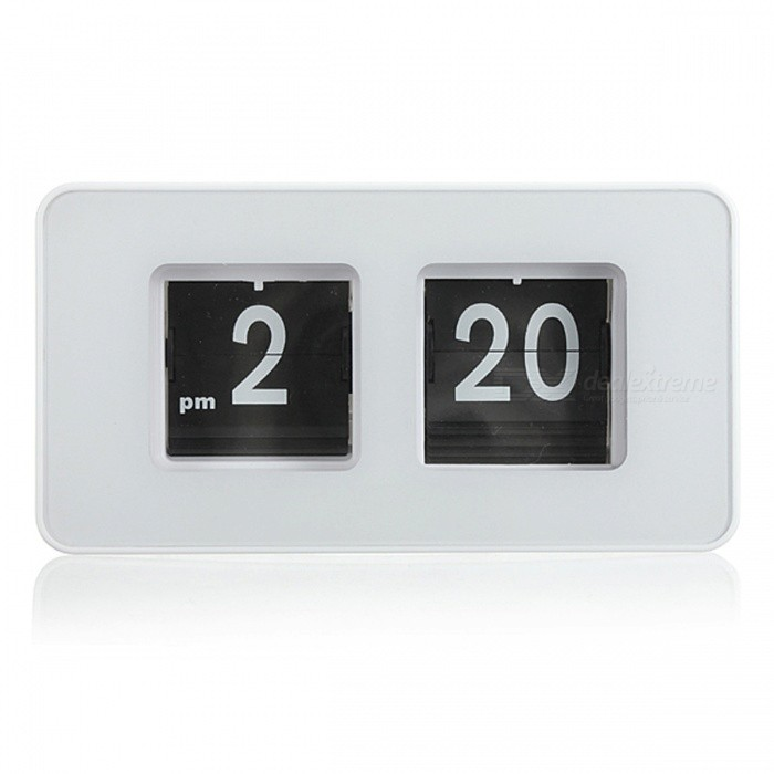 BSTUO Simple Modern Unique Retro Cube Auto Flip Clock - White
