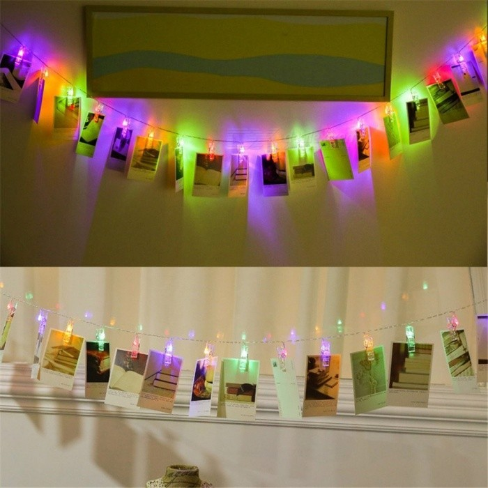 KWB Battery Powered 3m 20-LED Multi-Color Photo Clips String Light