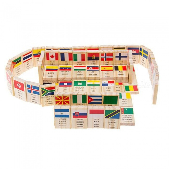 MAIKOU Wooden Dominoes with Flag and World Pattern (100 PCS)