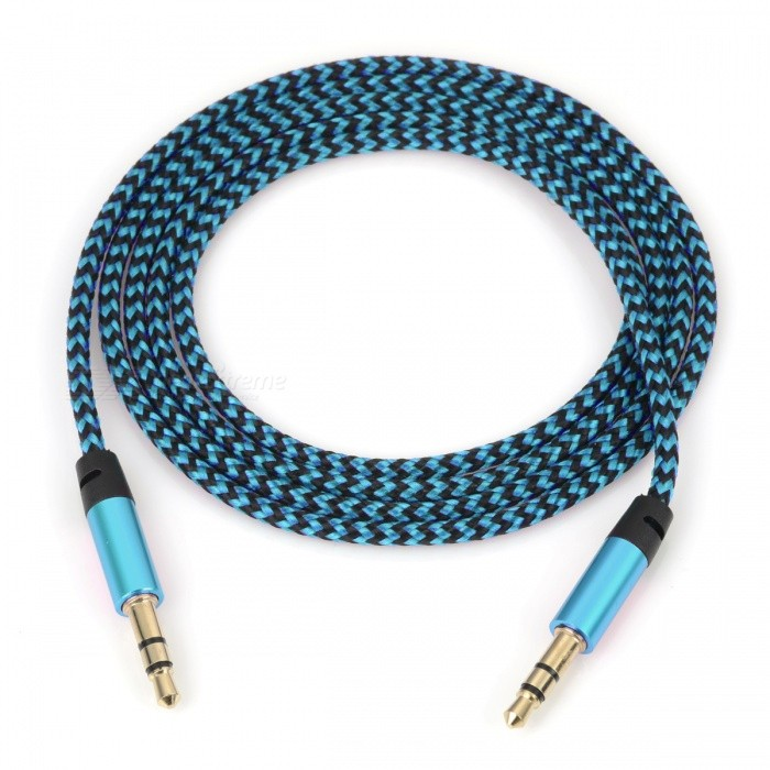 Nylon Braided 3.5mm Jack AUX Audio Cable - Blue (1m)Audio And Video Cables<br>Form  ColorBlueMaterialNylon BraidedQuantity1 DX.PCM.Model.AttributeModel.UnitShade Of ColorBlueCable Length100 DX.PCM.Model.AttributeModel.UnitConnector GenderMale to MaleConnector3.5mmPacking List1 x Audio line<br>