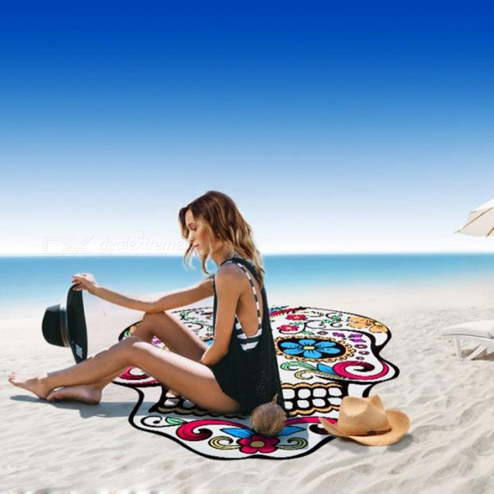 Super Soft Fiber 3D White Skull Towel Sunscreen ShawlSleeping Pad<br>Form  ColorWhite + MulticolorSizeFree SizeQuantity1 DX.PCM.Model.AttributeModel.UnitMaterialPolyesterPacking List1 x Beach towel<br>