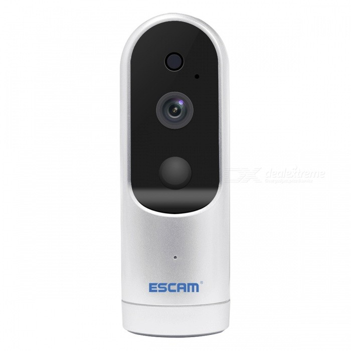 ESCAM Doorbell QF210 2.8mm Lens HD 960P WiFi IP IR Camera - SilverDoorbells<br>Form  ColorSilverPower AdapterWithout Power AdapterModelQF210MaterialABSQuantity1 DX.PCM.Model.AttributeModel.UnitImage SensorCMOSImage Sensor SizeOthers,1/3Pixels960PLensOthers,2.8mmViewing Angle90 DX.PCM.Model.AttributeModel.UnitVideo Compressed FormatH.264Picture Resolution1280*960Frame Rate25Input/OutputInternal MIC/Internal SpeakerAudio Compression FormatAACMinimum Illumination0.8 DX.PCM.Model.AttributeModel.UnitNight VisionYesIR-LED Quantity4Night Vision Distance5 DX.PCM.Model.AttributeModel.UnitWireless / WiFi802.11 b / g / nNetwork ProtocolDHCP,NTP,uPnPSupported SystemsXP,Vista,7Supported BrowserOthers,N/ASIM Card SlotStandard SIM CardOnline Visitor4IP ModeDynamicMobile Phone PlatformAndroid,iOSFree DDNSYesIR-CUTYesBuilt-in Memory / RAMNoLocal MemoryyesMemory CardTFMax. Memory Supported64GMotorNoRotation AngleNOZoomNOSupported LanguagesEnglish,Simplified ChineseWater-proofNoRate Voltage5VRated Current2 DX.PCM.Model.AttributeModel.UnitIntercom FunctionYesCertificationCE ROHSPacking List1 x IP Camera1 x USB Cable1 x User manual1 x Set of Screws1 x Bracket<br>